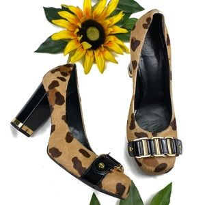 Tory Burch Calf Pumps Animal Print Chunky Heels